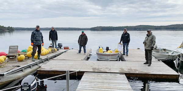men on dock