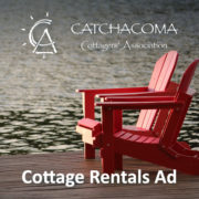 chairs on dock with words Cottage Rental ads